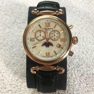 Akribos Copper Black Crocodile Leather Watch